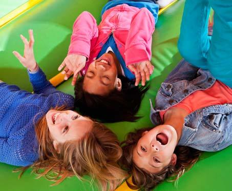 Kids having fun on a bounce pad